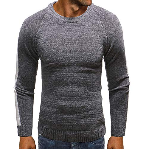 HULKAY Men Tops Sale Long Sleeve Round Neck Pure Color Knitted Sweater Blouse Coats Sweatshirt(Gray,L)