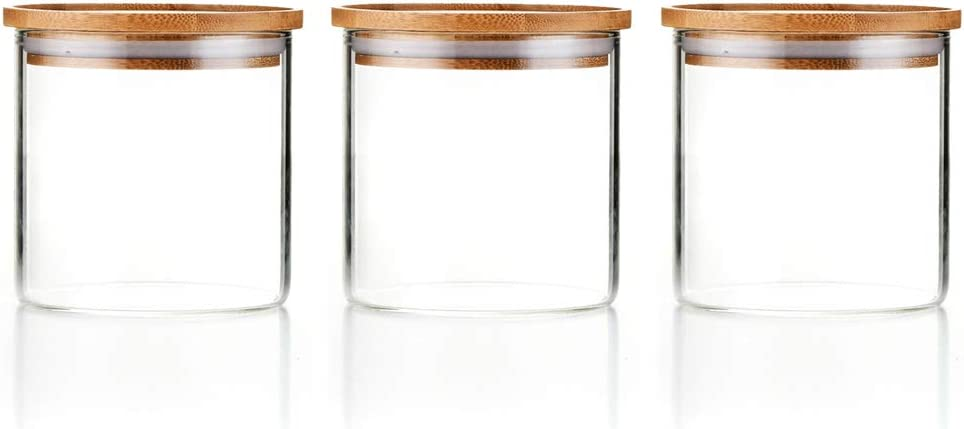 Sweejar 18 OZ Glass Food Storage Jar with Lid(set of 3),Airtight Canisters for Bathroom,Kitchen Container with Bamboo Cover for Serving Tea, Coffee, Spice and More…