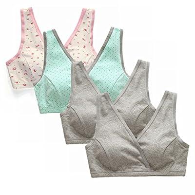 EMY Nursing Bra Maternity Bra 4 Pack Wrap Sleep Bra for Maternity to Nursing Seamless Cotton