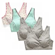 EMY Nursing Bra Maternity Bra 4 Pack Wrap Sleep Bra for Maternity to Nursing Seamless Cotton (US M (Asian tag L))