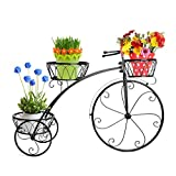 Dazone Black Vintage Parisian Style Tricycle 3 Tier White Metal Planter Display Stand / Flower Pot Holder / Plant Rack