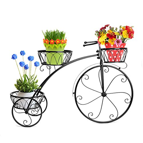 Dazone Exquisite Balcony Bike Plant Pot Tray Tron Stable Multi-Layer Flower Pot Holder Bicycle Flower Frame Stand Pergolas (Black)