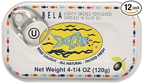 Bela-Olhao Sardines Sardines in Spring Water, (Pack of 12)