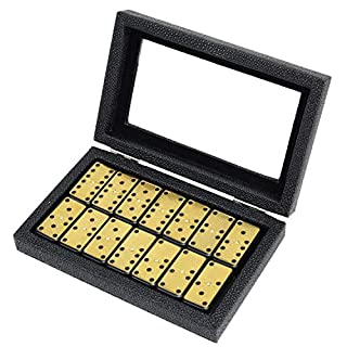 Metal Surface Dominoes Set - Premium Classic 28 Pieces Double Six in Durable PU Wooden Box for Party Favors and Anytime Use