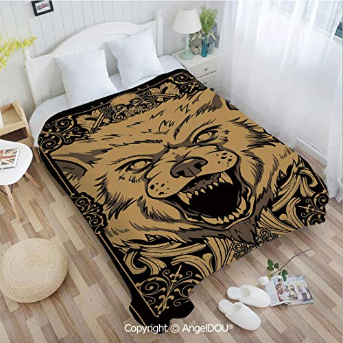 Decora Frame - AngelDOU Warm air Conditioner Flannel Blanket W59 xL78 Angry Carnivore Animal Face with Skull Ornamental Curlicues Swirls Lines Frame Decora for Bed Cover Sofa car use.