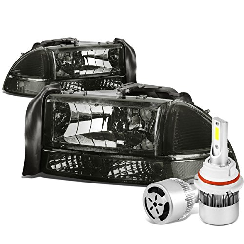 For Dodge Dakota/Durago 4Pc Pair of Smoked Lens Clear Corner Headlight + 9007 LED Conversion Kit W/Fan