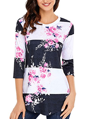 Zncmrr Womens Crew Neck 3 4 Sleeve Floral Print T Shirts Casual Striped Blouse Tops  S  Pink