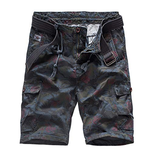 (JJLIKER Men's Summer Outdoor Lightweight Hiking Shorts Sports Casual Cotton Classic Capri 3/4 Cargo Pants with Belt)