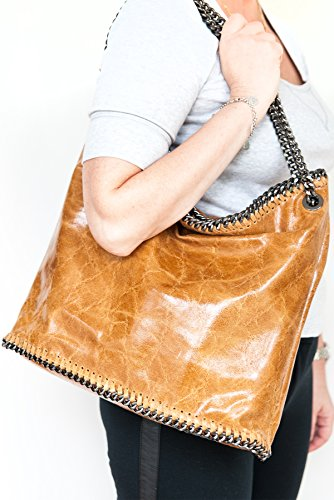 bag XL cm Chains formel 15 Cognac Hobo 35 leather by fashion with 2067 Shopper 38 mod Shoulderbag ICUqXxw