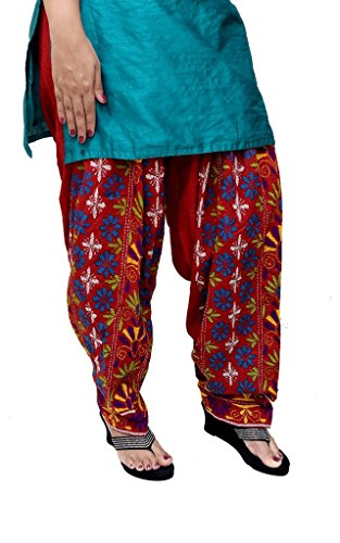 S.K. Ethnic India Women's Phulkari Work Punjabi Patiala Cotton Salwar Free Size Red