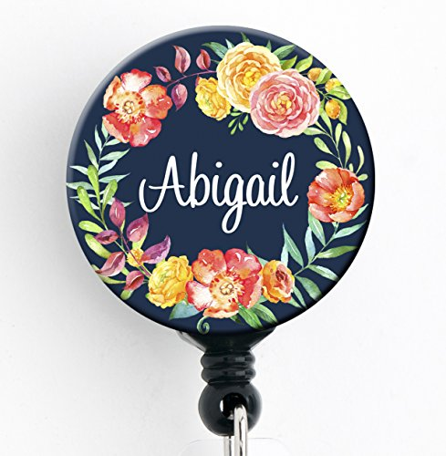 Retractable Badge Reel - Navy Floral Wreath - Personalized Name - Badge Holder - Personalized Badge Reels