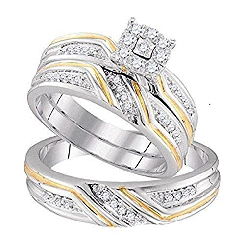 Dream Jewels 0.34 cttw 14k White Gold Over D/VVS1 His and Hers Trio Two Tone Bridal Ring Set .925 Sterling Base