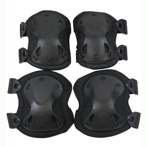Outdoor Sports Tactical Combat Knee & Elbow Protective Pads Skate Knee (Black) by VOVOV