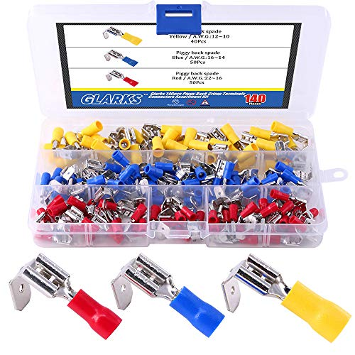 Glarks 140pcs 22-16/16-14/12-10 Gauge Semi-Insulated Piggy Back Spade Quick Splice Crimp Terminals Connectors Assortment Kit ()