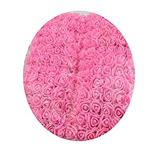 shinney1 144pcs 2cm Foam Roses for Home Wedding Fake Flower Decora Scrapbooking DIY Wreath Gift Box Artificial Flower Bouquet,Dark Pink 27