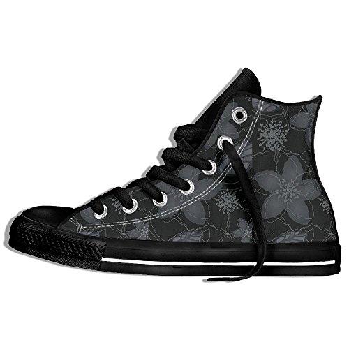 Classiche Sneakers Alte In Tela Scarpe Antiscivolo Fiori Casual Da Passeggio Per Uomo Donna Nero