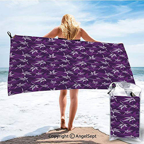 SCOCICI Fashion Ultra Soft Compact Quick Dry Towels,Abstract Lily Flowers Pattern Country Garden Spring Summer Season Themed Purple Lilac,27.5