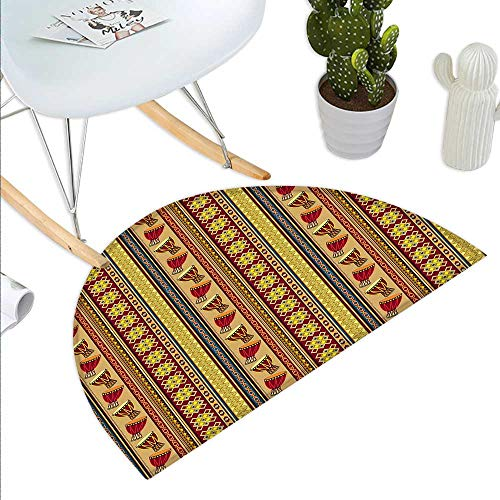 Anniutwo African Half Round Rubber Door mat Oriental Djembe Drums Music Culture in Africa Theme Geometric Chevrons Triangles Half Round Coir Door mat Multicolor ()