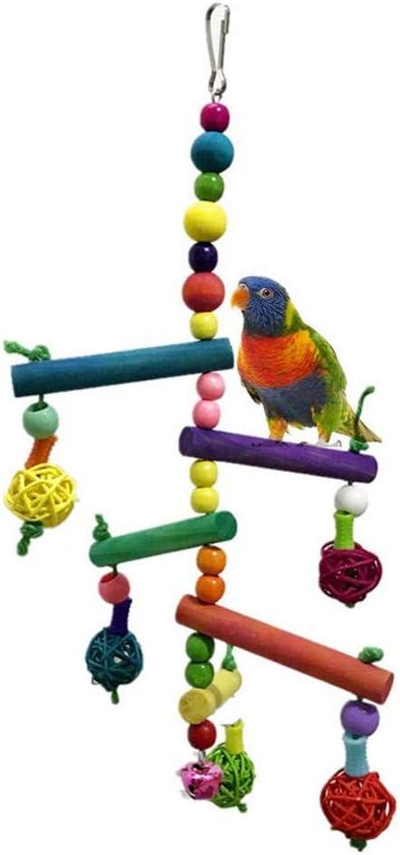 Uteruik - Escalera de Escalada de Madera Colorida para pájaros, periquitos, periquitos, cacatúas, colibríes, pinzones de pájaro Africano, Color Gris, 1 Unidad: Amazon.es: Hogar