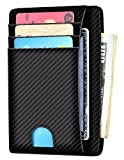 Slim Wallet RFID Front Pocket Wallet Minimalist Secure Thin Credit Card Holder (One Size, A ID Holder Carbon Fiber)