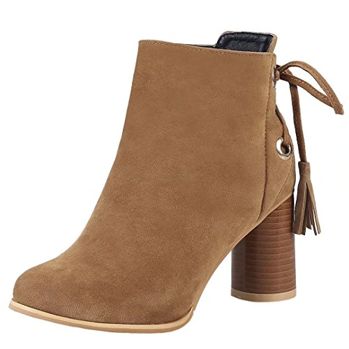 AIYOUMEI Damen Blockabsatz Stiefeletten mit 7cm Absatz und Schnürsenkel Herbst Winter Ankle Boots Schuhe Braun