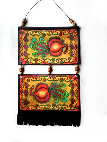 Garden Art Metal Decor Bead - Golden Beets Wall Hanging Art Tapestry Decor with Beads and Black Suede Fringe 8x14