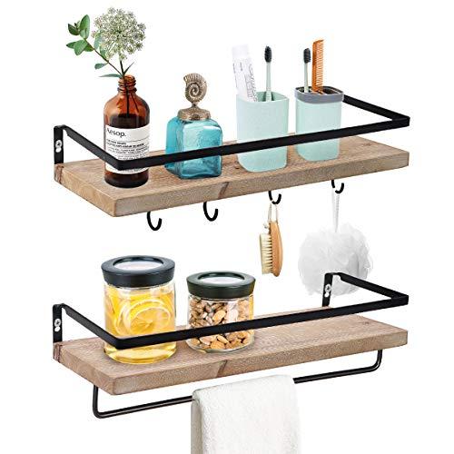 biukpci Wood Floating Shelves Bathroom Storage Shelf Wall Mounted for Kitchen, Living Room, Set of 2