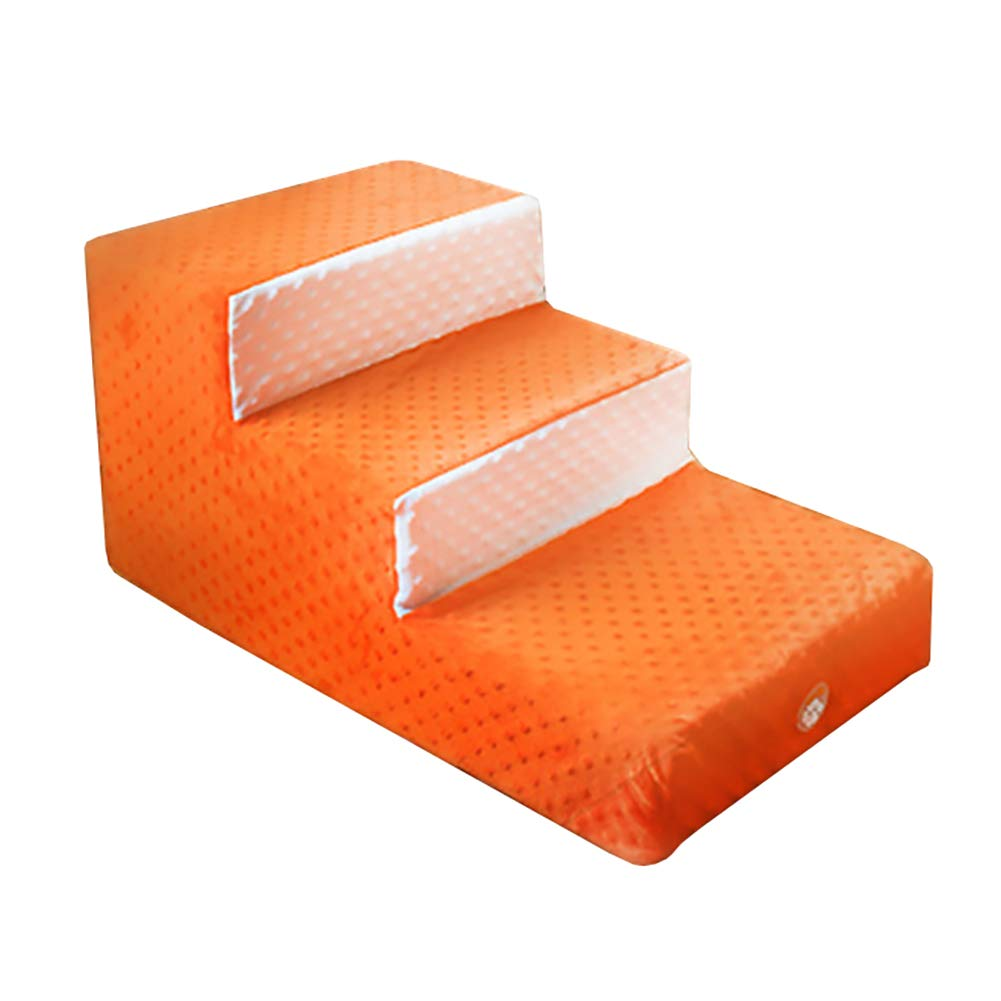 Jacquard Dot Round Bubble 3-Tiered Stair Pet Dog Removable and Washable Mat, 67×40×33cm, orange