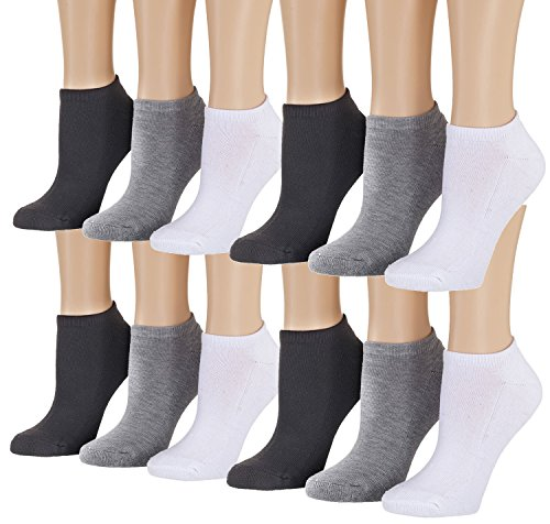 Tipi Toe Women's 12-Pack No Show Athletic Socks, Sock Size 9-11 Fits Shoe 6-10, SP20