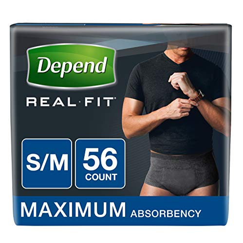 Depend Real Fit Incontinence Underwear for Men, Maximum Absorbency, S/M, Black, 56 - Depend Super Absorbent