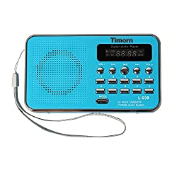 Timorn Radio Mini Portable Music Player Supports TF Card /SD MP3 Format FM Radio with USB Rechargeable (Blue)