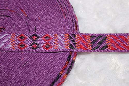 1 Yard Lavender Purple Red Orange Black Geometric Tapestry Woven Trim 5/8 Wide - Tapestry Trim