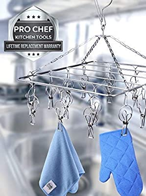 Pro Chef Kitchen Tools Laundry Drying Rack - Rectangle Hanging Clothes Dryer with 18 Clothes Pins - Hangers with Clips - Retractable Clothesline - Mitten Drying Rack - Indoor Outdoor Laundry Hanger