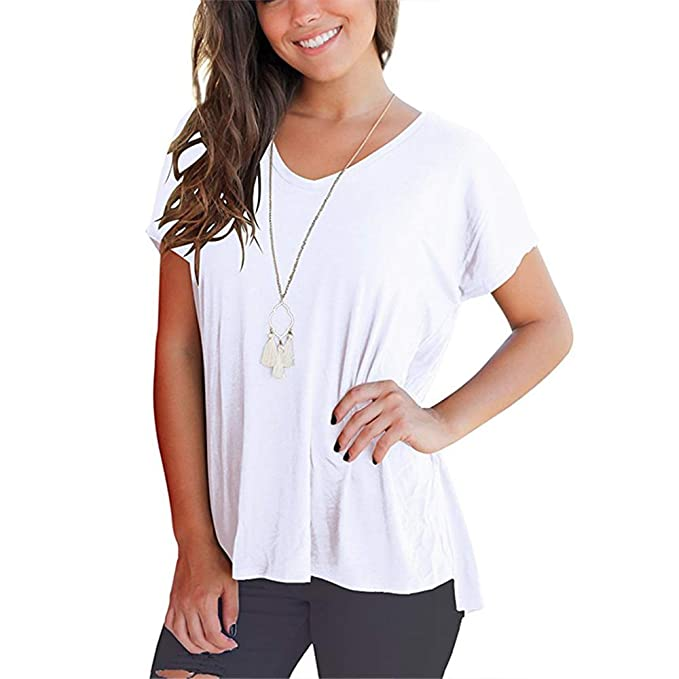 88f2263ab13 Image Unavailable. Image not available for. Color  HuntGold Women Summer  Spring V Neck Loose T Shirt High Low Short Sleeve ...