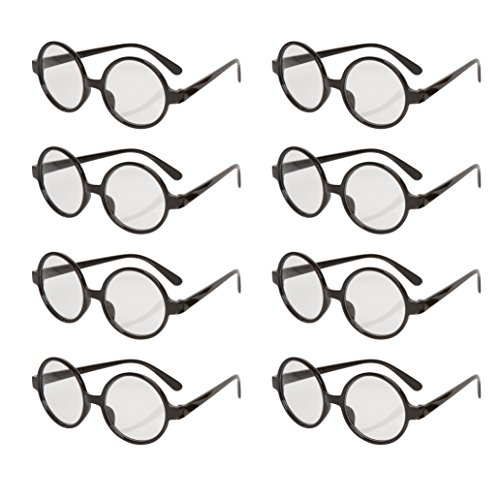 Allures & Illusions Great Party Wizard Glasses (8 Pack), Black