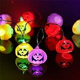 Halloween Pumpkin Lantern Set (2 Packs) 10 Foot Pumpkin Light Skull Light 32 LED String Lights Jack o Lantern Lndoor Outdoor Halloween Parties Decorations Series