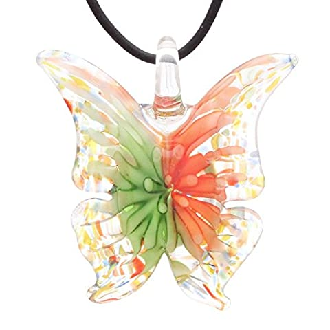 Bleek2Sheek Murano-inspired Glass Butterfly Flower Pendant Necklace - HYPOALLERGENIC (GREEN / - Green Murano Glass Pendant