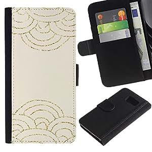 LASTONE PHONE CASE / Lujo Billetera de Cuero Caso del tirón Titular de la tarjeta Flip Carcasa Funda para Samsung Galaxy S6 SM-G920 / Clouds Abstract Scale Pattern Beige