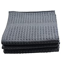 Sinland 400 GSM Microfiber Waffle Weave Kitchen Towels Drying Cloth 3 Pack 16inch X 26inch