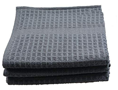 ofiber Waffle Weave Kitchen Towels Drying Cloth 3 Pack 16inch X 26inch Black ()