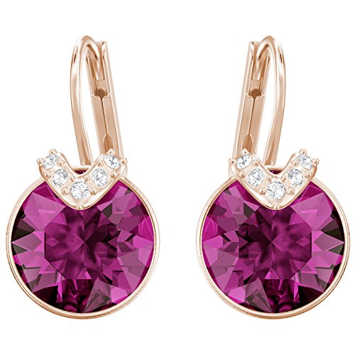 Bella Earrings Swarovski Pierced (Swarovski 5389357 Bella V Pierced Earrings, Fuchsia, Rose)