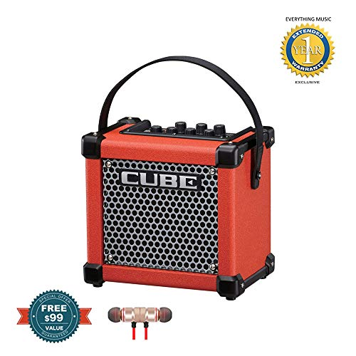 (Roland Micro Cube GX Guitar Amplifier Red (M-CUBE-GXR) includes Free Wireless Earbuds - Stereo Bluetooth In-ear and 1 Year Everything Music Extended Warranty)