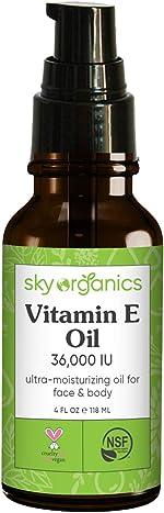 Vitamin E Oil 36,000 IU by Sky Organics (4oz) Certified Organic