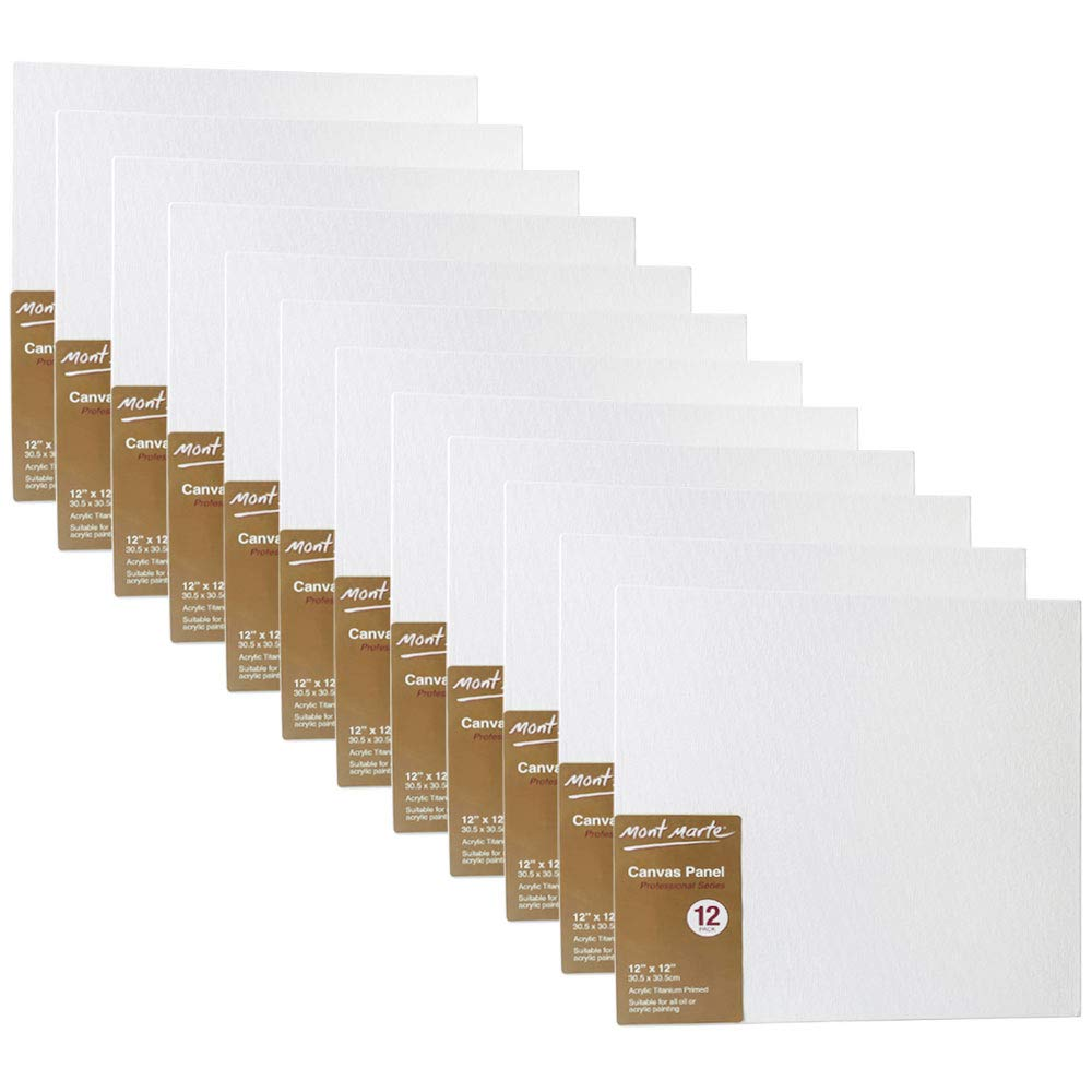 Mont Marte Canvas Panel (pack of 12), 12 X 12 inches, Canvas Panel Great for Students to Professional Artists by Mont Marte