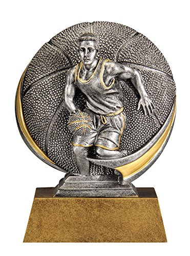 Decade Awards Basketball Motion Xtreme 3D Trophy, Male - Hoops Award -5 Inch Tall - Customize Now