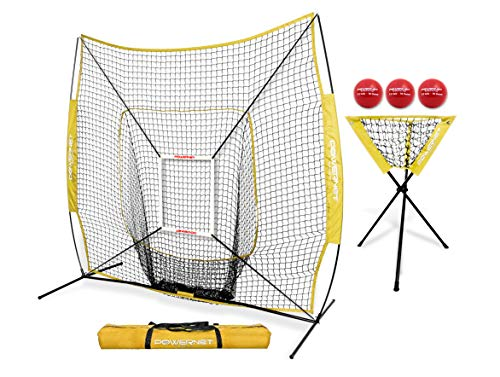 PowerNet DLX Combo 6 Piece Set for Baseball Softball (Yellow) | 7x7 Practice Net Bundle w/Strike Zone, Ball Caddy + 3 Weighted Training Balls | Team or Solo Training | Hitting & Throwing ()