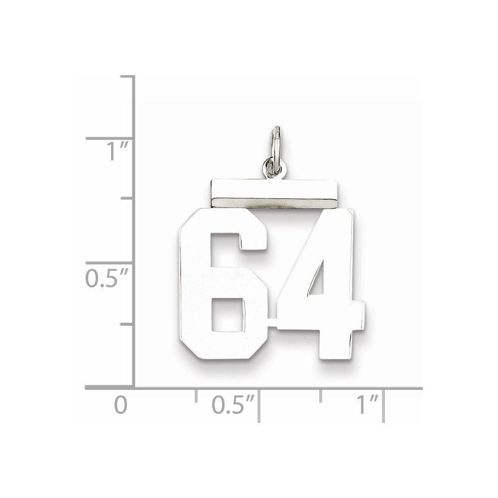 Sterling Silver Medium Polished Number 64 Charm
