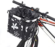 GLE2016 Bike Basket, Foldable Small Pet Cat Dog Carrier Front Removable Bicycle Handlebar Basket Quick Release