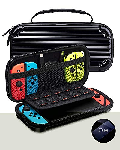 KeeGan Case for Nintendo Switch & Accessories (2019) - Protective Hard Portable Travel Case with Tempered-glass Screen Protector and 10 Game Cartridges, Easy to Carry, Very Sturdy - Black