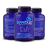 LoveBug Probiotics Digestive Health Probiotic - Here's the Skinny, 30 Day Supply of Tablets - 15x More Survivability than Probiotic Capsules with Patented Delivery Technology - Probiotic Supplement